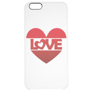 Illustration Heart with lettering LOVE in red Clear iPhone 6 Plus Case