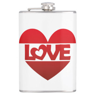 Illustration Heart with lettering LOVE in red Hip Flask