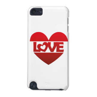 Illustration Heart with lettering LOVE in red iPod Touch 5G Covers