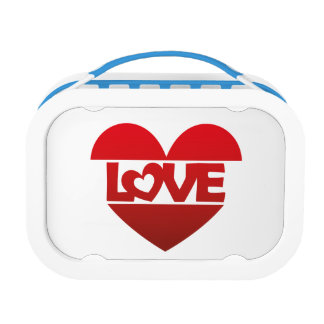Illustration Heart with lettering LOVE in red Lunchboxes