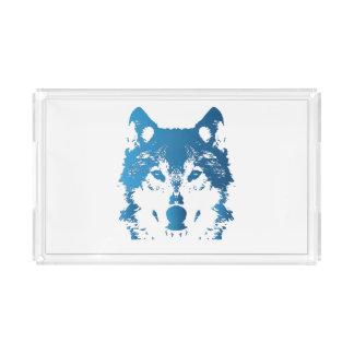 Illustration Ice Blue Wolf Acrylic Tray