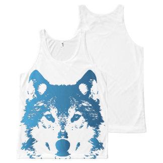 Illustration Ice Blue Wolf All-Over Print Singlet