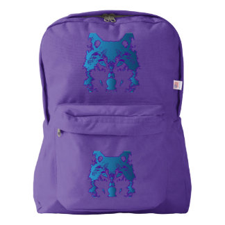 Illustration Ice Blue Wolf Backpack