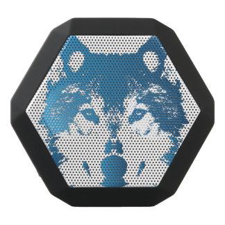 Illustration Ice Blue Wolf Black Bluetooth Speaker
