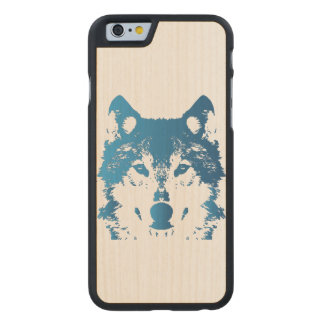Illustration Ice Blue Wolf Carved Maple iPhone 6 Case