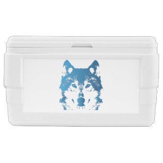 Illustration Ice Blue Wolf Chest Cooler
