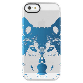 Illustration Ice Blue Wolf Clear iPhone SE/5/5s Case