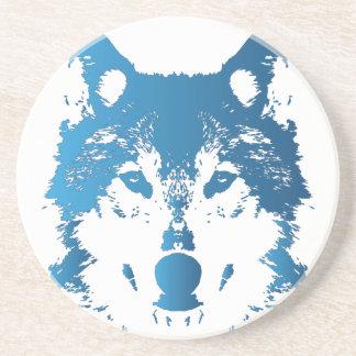 Illustration Ice Blue Wolf Coaster