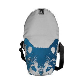 Illustration Ice Blue Wolf Commuter Bag