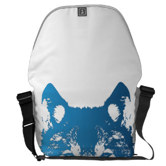 Illustration Ice Blue Wolf Courier Bag