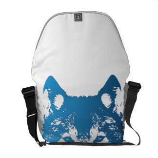 Illustration Ice Blue Wolf Courier Bags