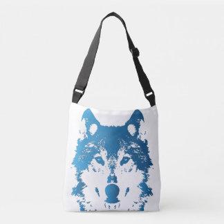 Illustration Ice Blue Wolf Crossbody Bag