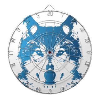 Illustration Ice Blue Wolf Dartboard