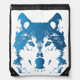 Illustration Ice Blue Wolf Drawstring Bag