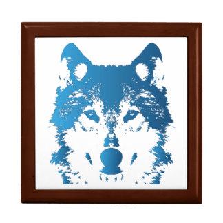 Illustration Ice Blue Wolf Gift Box