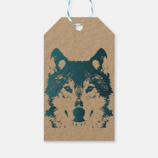 Illustration Ice Blue Wolf Gift Tags