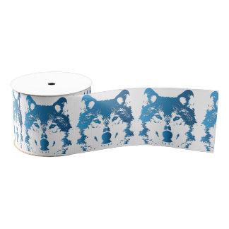 Illustration Ice Blue Wolf Grosgrain Ribbon