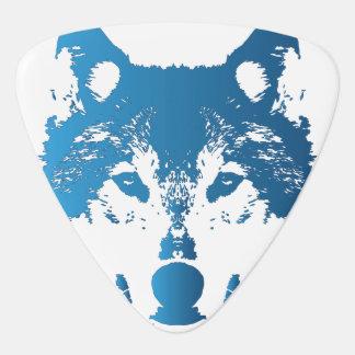 Illustration Ice Blue Wolf Guitar Pick