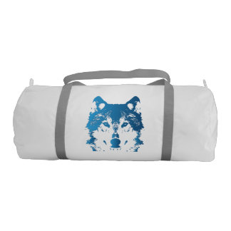 Illustration Ice Blue Wolf Gym Bag