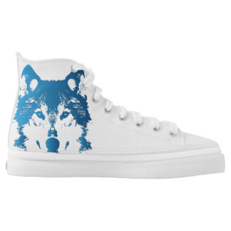 Illustration Ice Blue Wolf High Tops