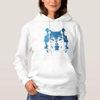 Illustration Ice Blue Wolf Hoodie