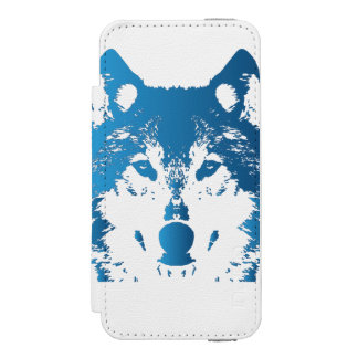Illustration Ice Blue Wolf Incipio Watson™ iPhone 5 Wallet Case