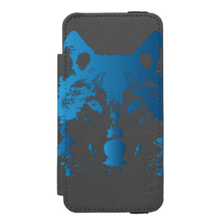Illustration Ice Blue Wolf Incipio Watson™ iPhone 5 Wallet Case