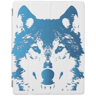 Illustration Ice Blue Wolf iPad Cover