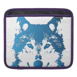 Illustration Ice Blue Wolf iPad Sleeve