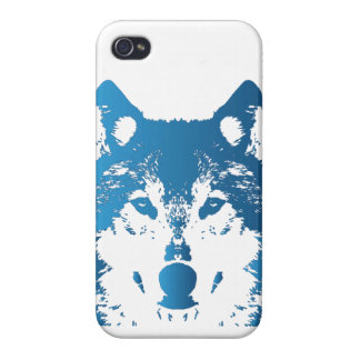 Illustration Ice Blue Wolf iPhone 4 Cover