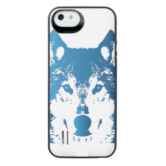 Illustration Ice Blue Wolf iPhone SE/5/5s Battery Case