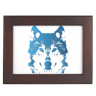 Illustration Ice Blue Wolf Keepsake Box