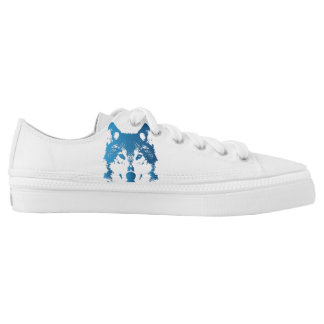 Illustration Ice Blue Wolf Low Tops