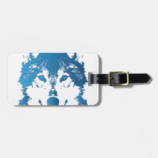 Illustration Ice Blue Wolf Luggage Tag