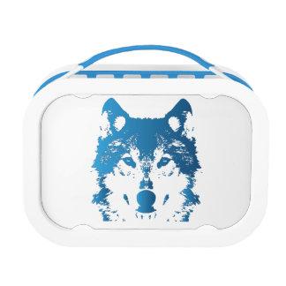 Illustration Ice Blue Wolf Lunch Box