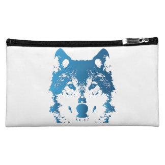 Illustration Ice Blue Wolf Makeup Bag