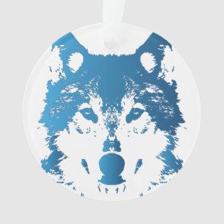 Illustration Ice Blue Wolf Ornament