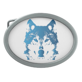 Illustration Ice Blue Wolf Oval Belt Buckle