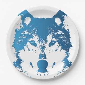 Illustration Ice Blue Wolf Paper Plate