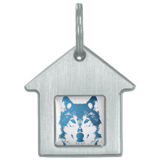 Illustration Ice Blue Wolf Pet Name Tag