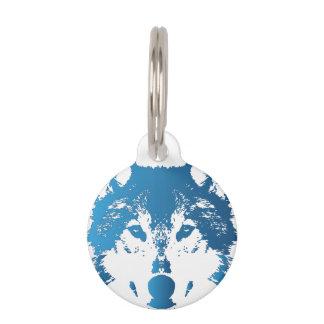 Illustration Ice Blue Wolf Pet Tag