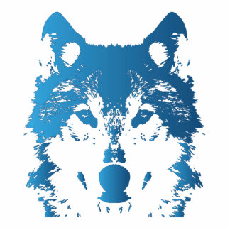 Illustration Ice Blue Wolf Photo Sculpture Key Ring