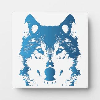 Illustration Ice Blue Wolf Plaque