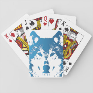 Illustration Ice Blue Wolf Playing Cards