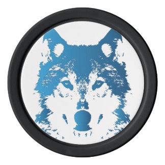 Illustration Ice Blue Wolf Poker Chips