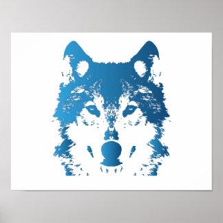 Illustration Ice Blue Wolf Poster