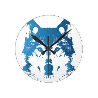 Illustration Ice Blue Wolf Round Clock