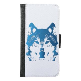 Illustration Ice Blue Wolf Samsung Galaxy S6 Wallet Case