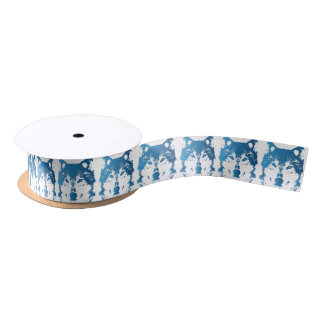 Illustration Ice Blue Wolf Satin Ribbon
