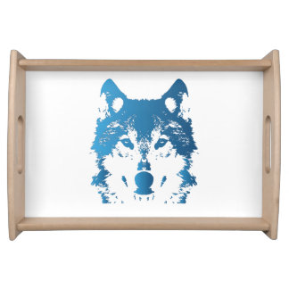 Illustration Ice Blue Wolf Serving Tray